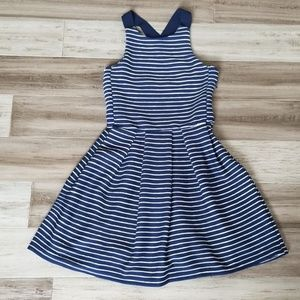 Stradivarius Ribbbed Striped Skater Dress